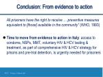 conclusion from evidence to action