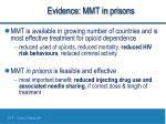 evidence mmt in prisons