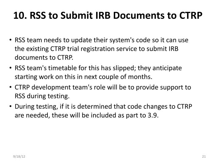 10. RSS to Submit IRB Documents to CTRP