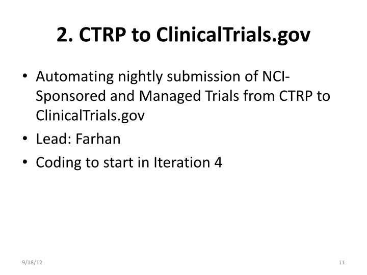 2. CTRP to ClinicalTrials.gov