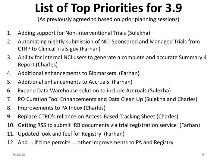 List of Top Priorities for 3.9