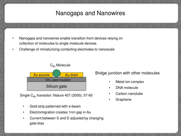 Nanogaps and Nanowires