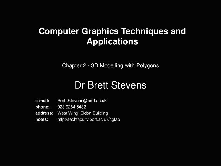 computer graphics techniques and applications n.