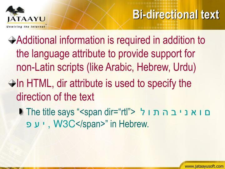 Bi-directional text