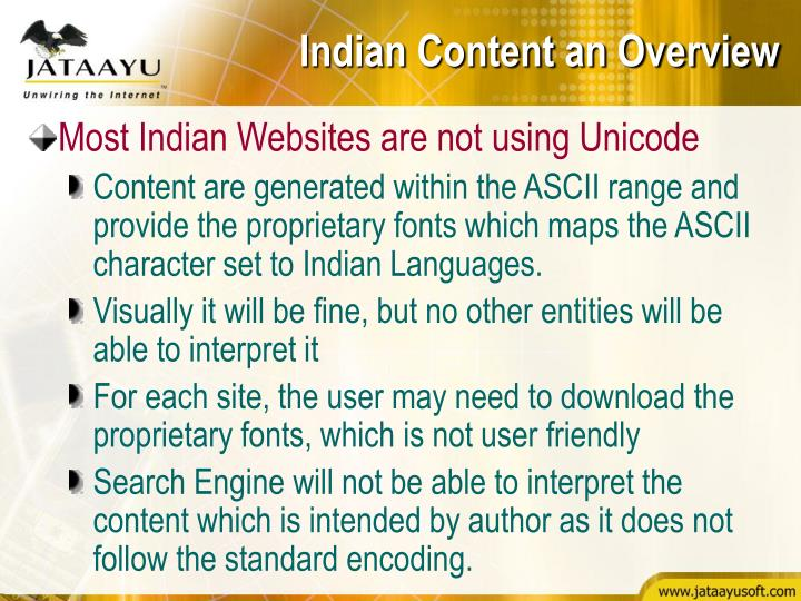 Indian Content an Overview