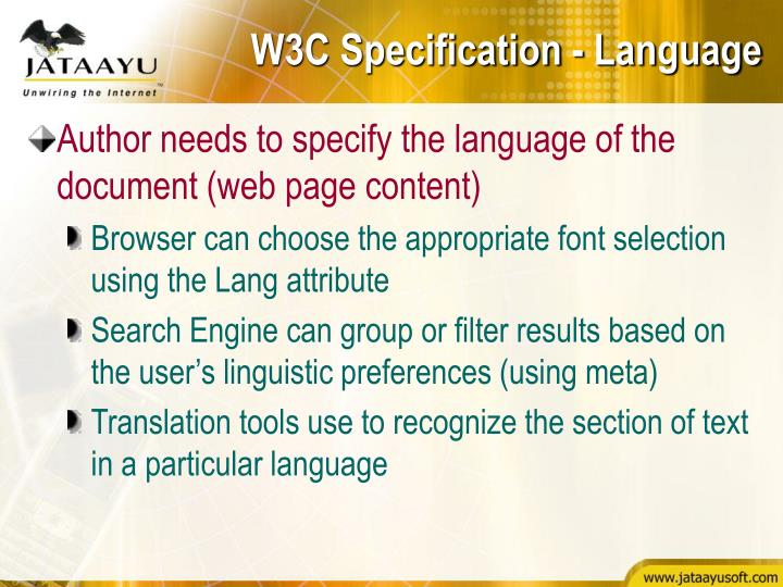 W3C Specification - Language