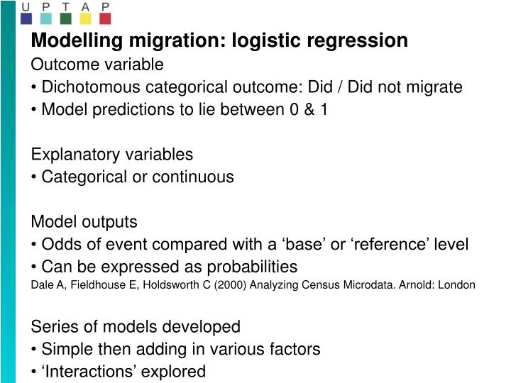 Modelling migration: logistic regression