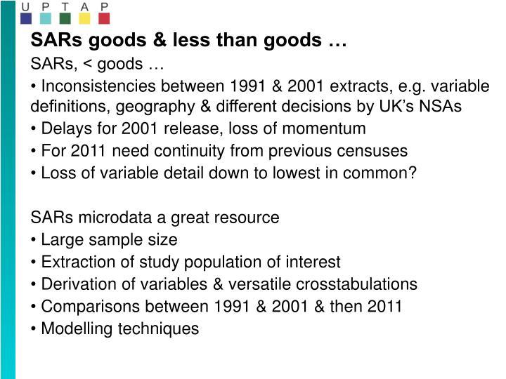 SARs goods & less than goods …