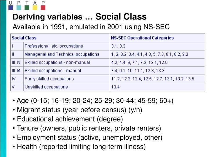 Deriving variables …