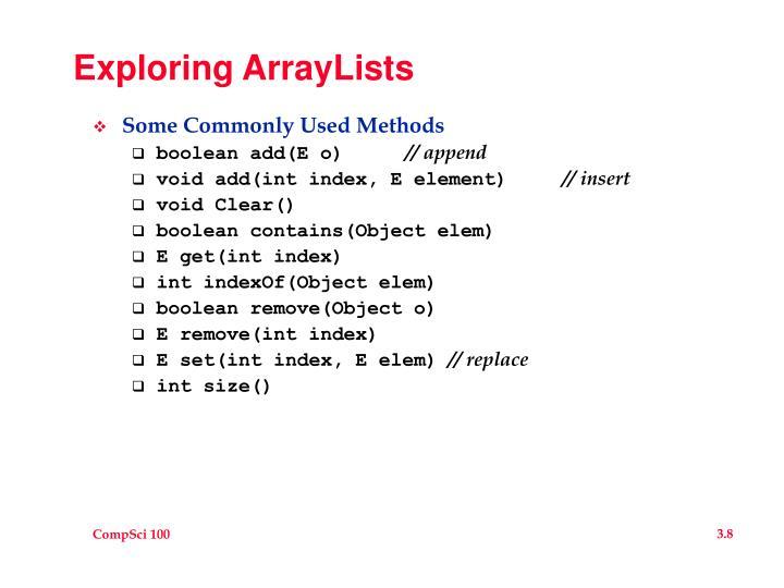 Exploring ArrayLists