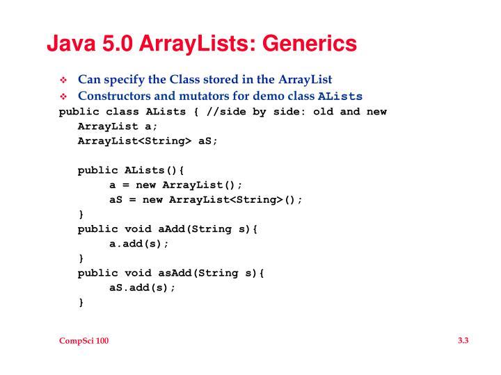 Java 5 0 arraylists generics