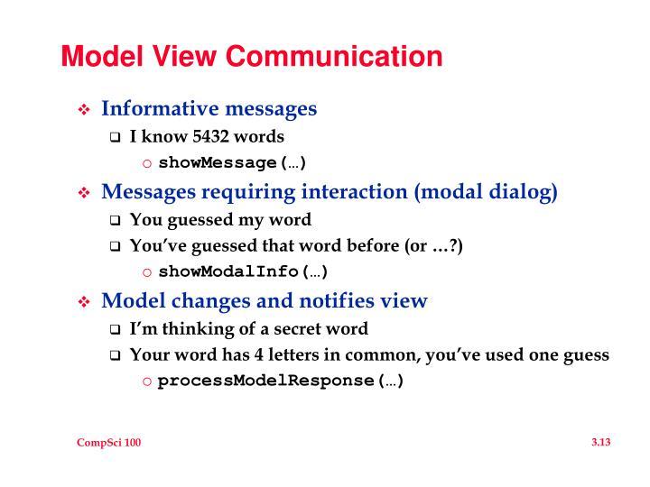 Model View Communication