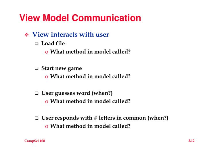 View Model Communication