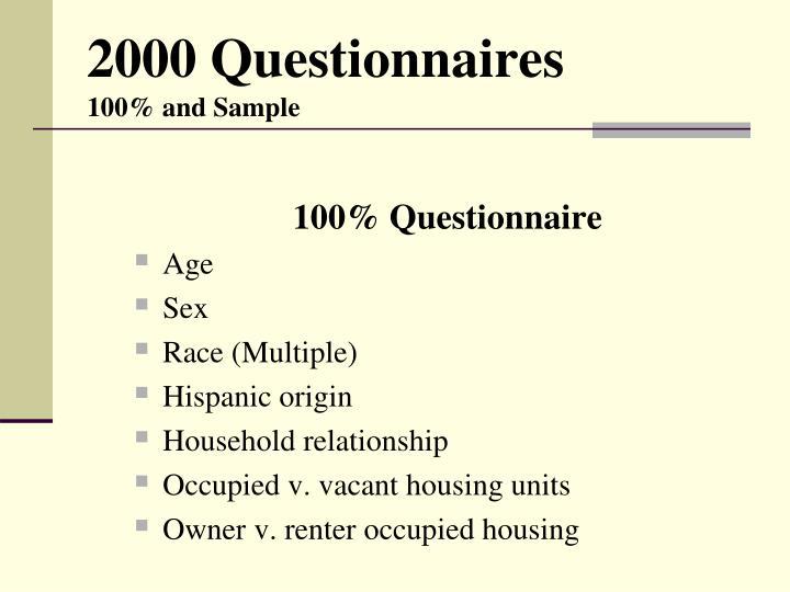 2000 Questionnaires