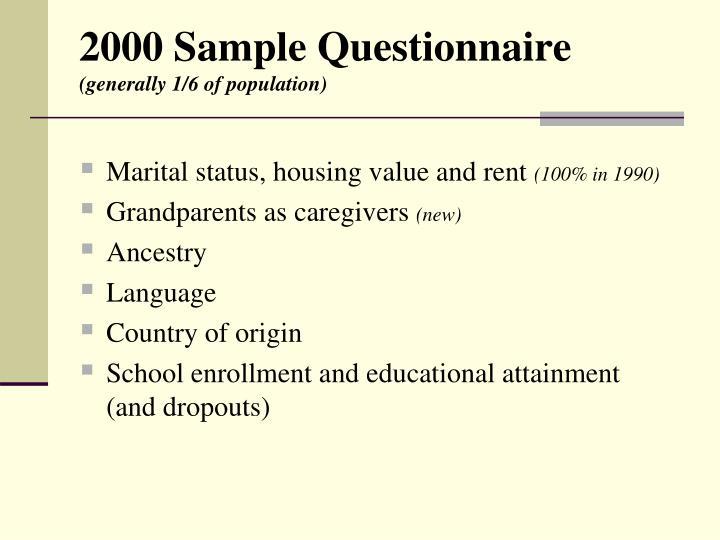 2000 Sample Questionnaire