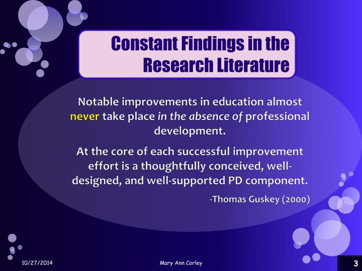 Constant Findings in the