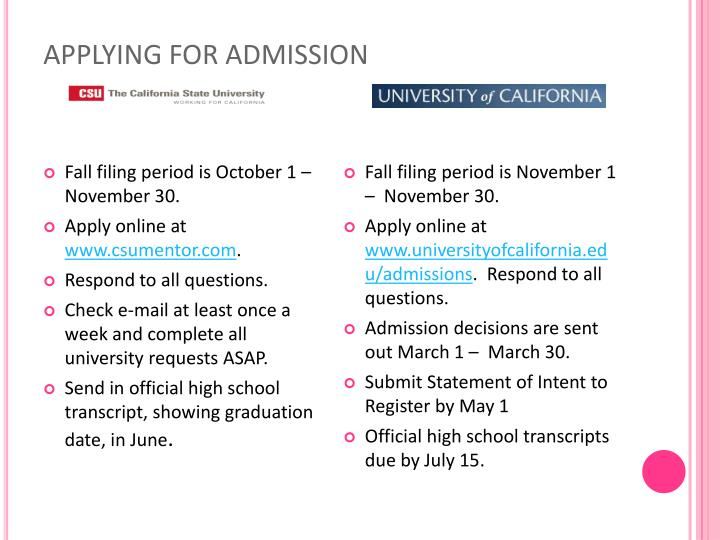 APPLYING FOR ADMISSION