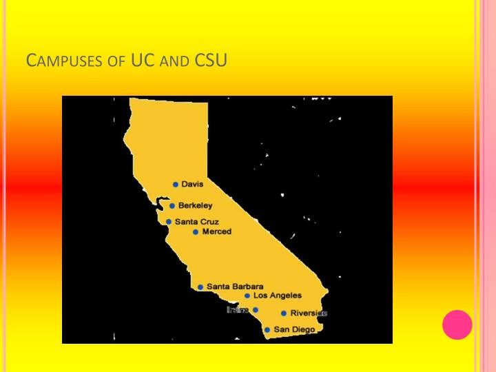 Campuses of UC and CSU