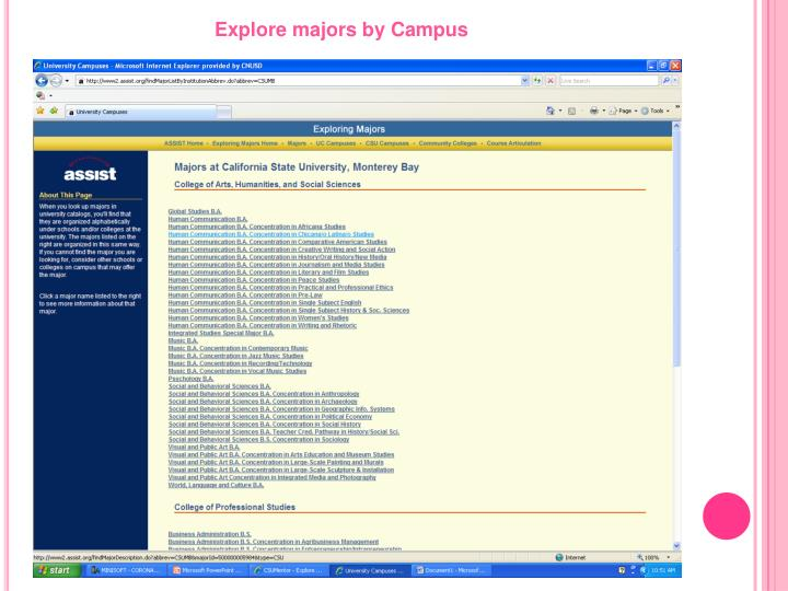 Explore majors by Campus