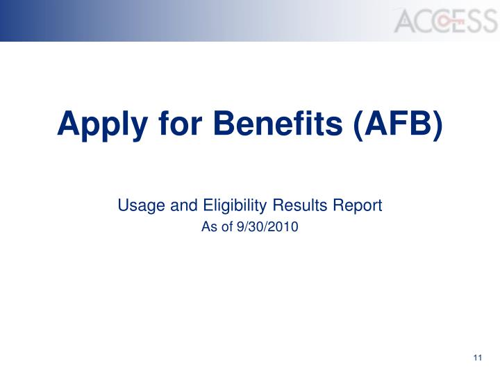 Apply for Benefits (AFB)