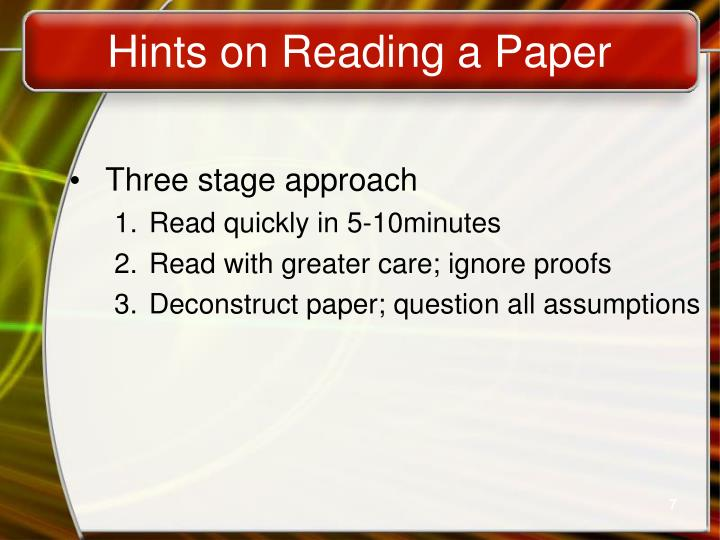 Hints on Reading a Paper