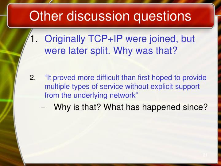 Other discussion questions
