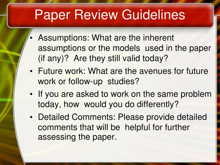 Paper Review Guidelines