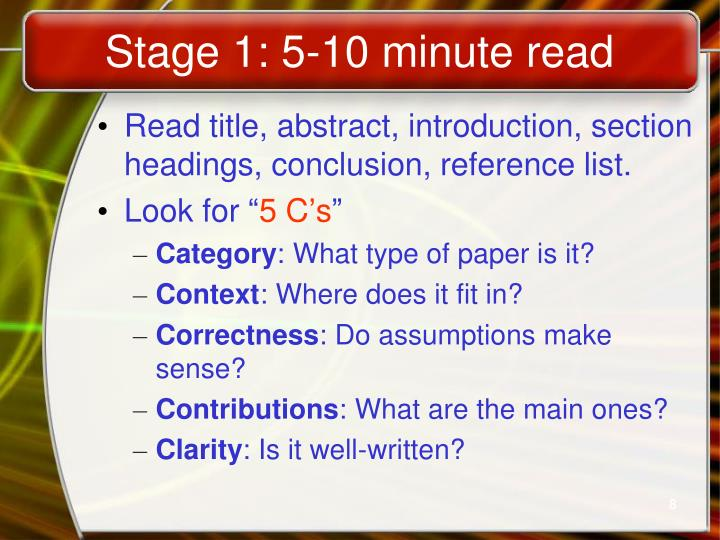 Stage 1: 5-10 minute read