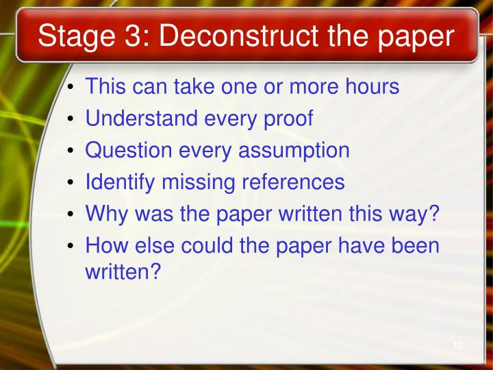 Stage 3: Deconstruct the paper