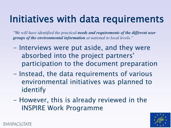 Initiatives with data requirements