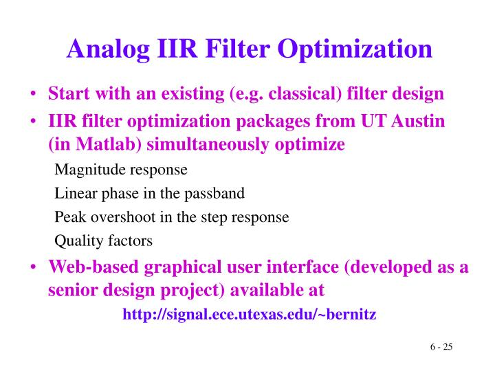 Analog IIR Filter Optimization