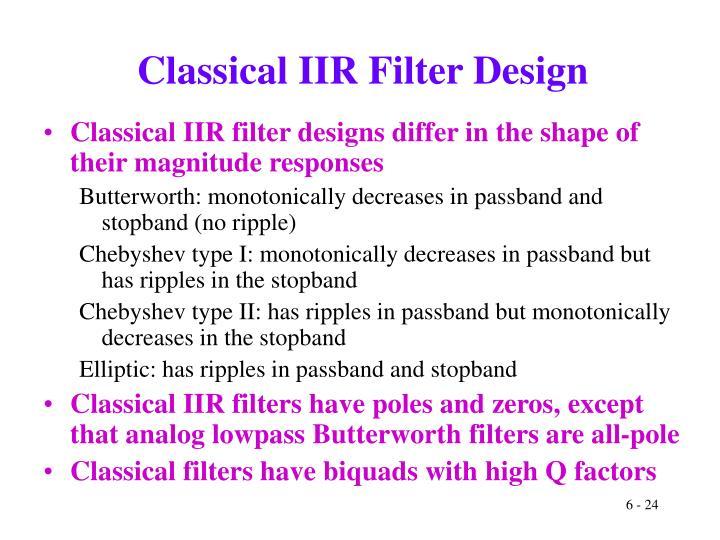 Classical IIR Filter Design