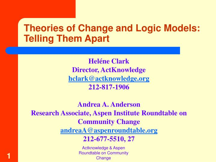 theories of change and logic models telling them apart