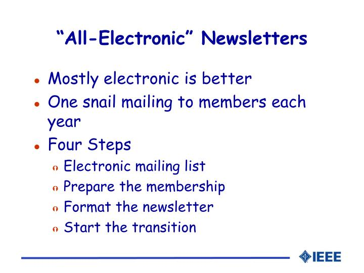 """All-Electronic"" Newsletters"