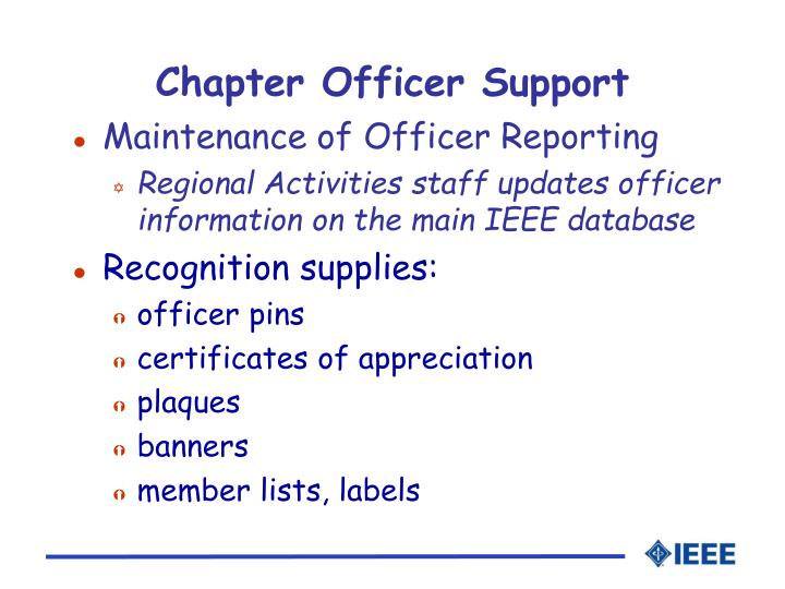 Chapter Officer Support