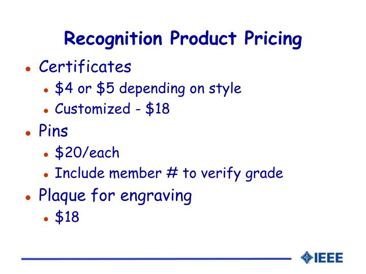 Recognition Product Pricing