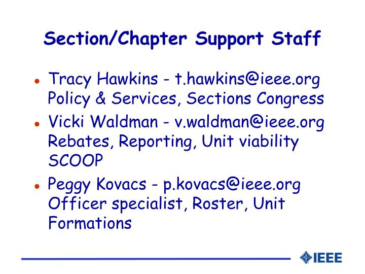 Section/Chapter Support Staff