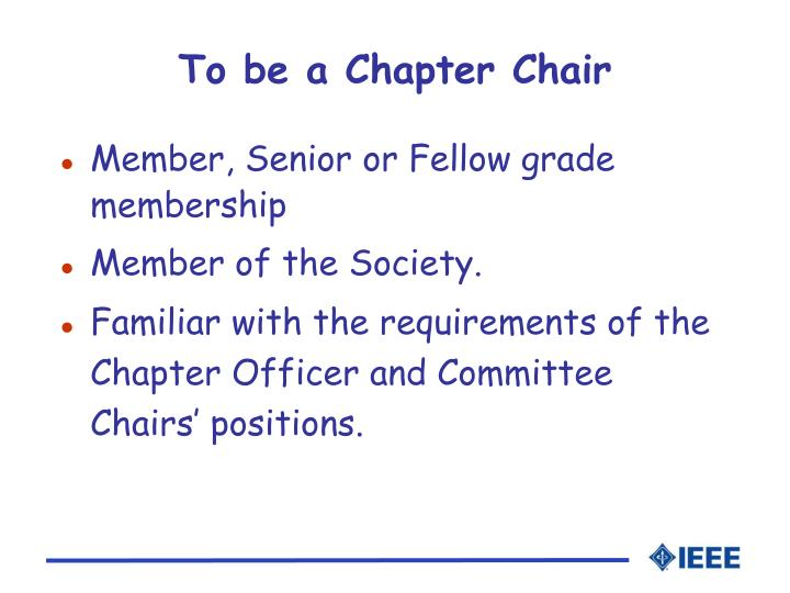 To be a Chapter Chair