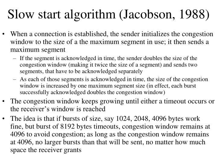 Slow start algorithm (Jacobson, 1988)