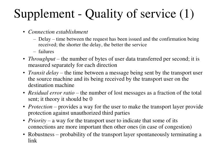 Supplement - Quality of service (1)