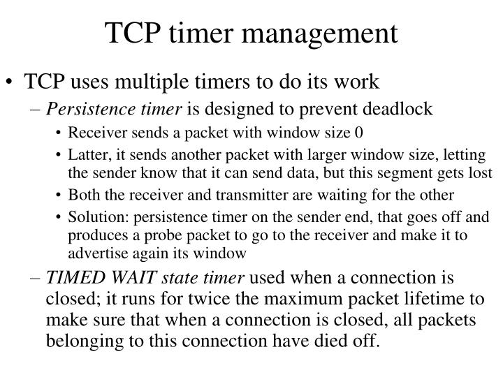TCP timer management