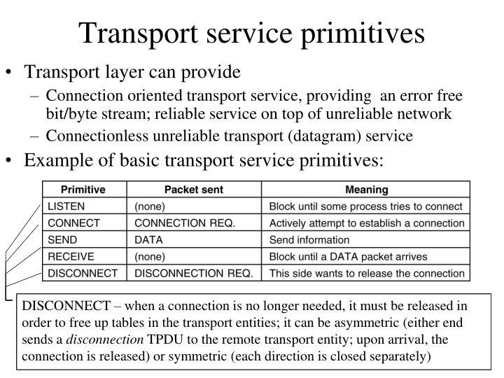 Transport service primitives