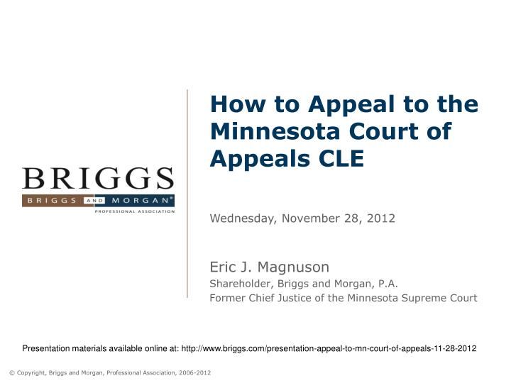 How to appeal to the minnesota court of appeals cle