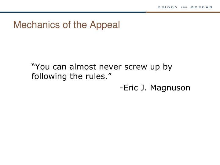 Mechanics of the Appeal