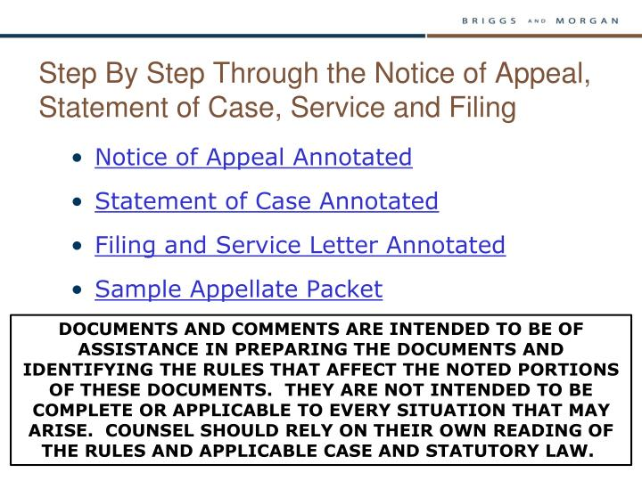 Step By Step Through the Notice of Appeal, Statement of Case, Service and Filing