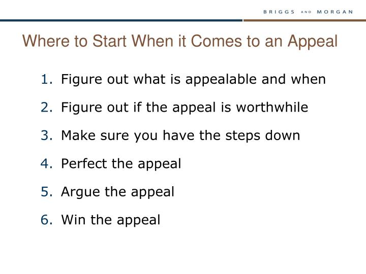 Where to start when it comes to an appeal
