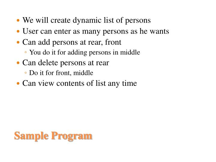 We will create dynamic list of persons