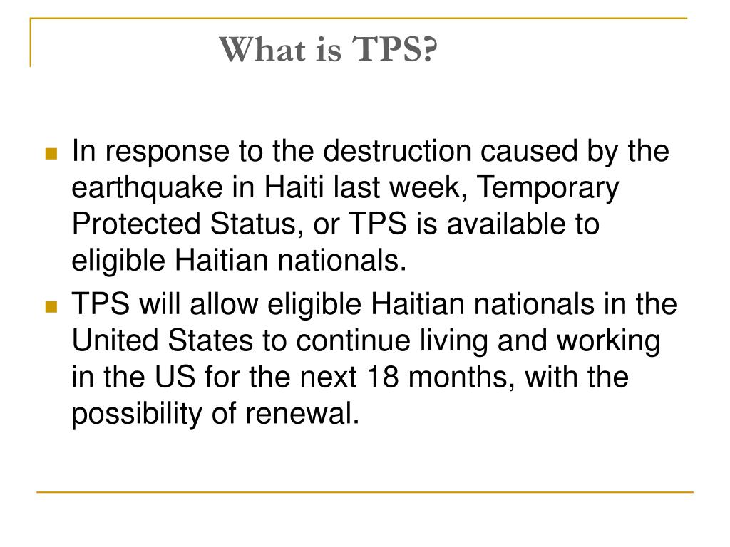 What Is Tps >> Ppt Obtaining Tps For Your Haitian Clients Powerpoint