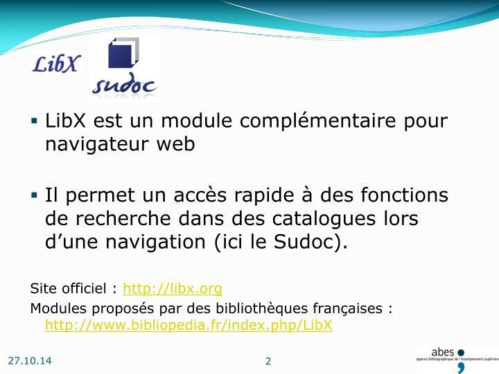LibX est un module complémentaire pour navigateur web