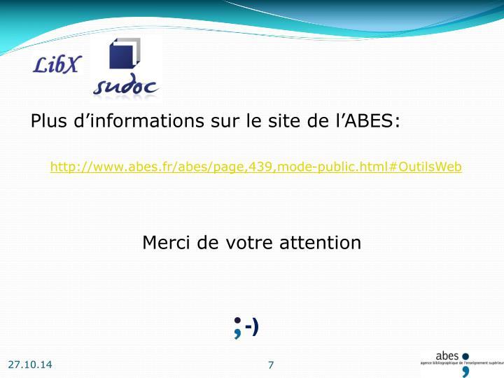 Plus d'informations sur le site de l'ABES: